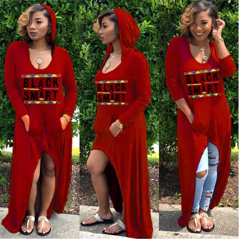 African Clothing Women Casual Loose Letter Printed Dress Hooded Pocket Maxi Gown Robe Hippie Africa T Shirt Dress for Woman