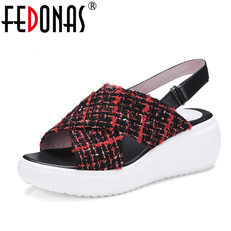 FEDONAS 2018 Women Sandals Summer Fashion Comfort Casual Shoes Woman Ladies Wedges Heels Platforms Shoes Casual Beach Sandals women sandals 2016 fashion woman summer shoes sandals female beach wedges shoes high heel shoes sandals