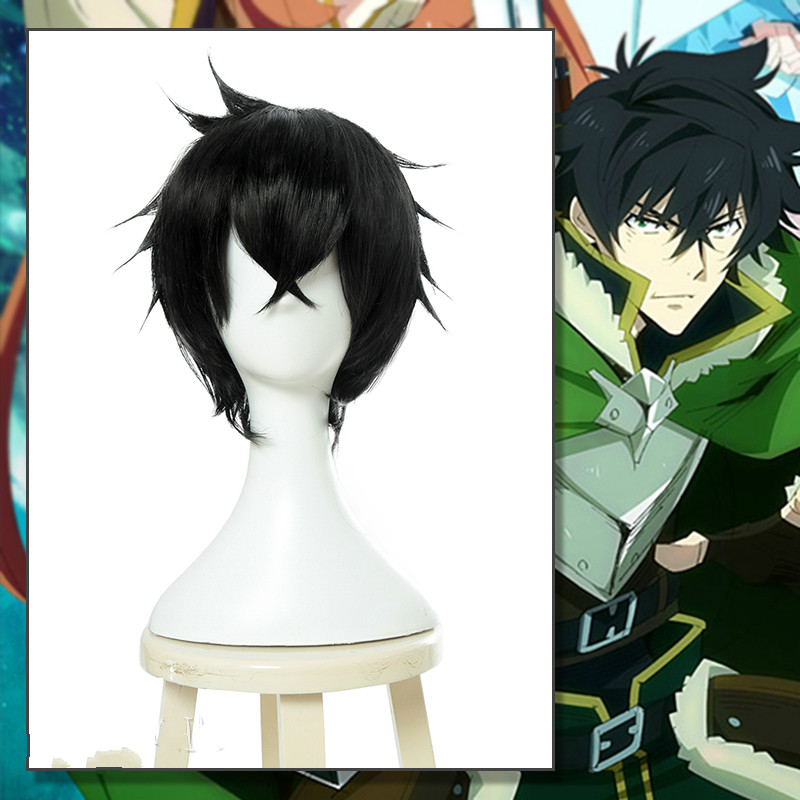 The Rising of the Shield Hero Naofumi Iwatani Cosplay Wig Short Black Hair Headwear Halloween Cosplay Costume Accessories