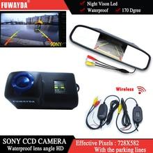 FUWAYDA SONY Car Rear View Reverse Backup Parking Camera +4.3″ mirror monitor for Peugeot 206 207 306 307 308 406 407 5008 Tepee