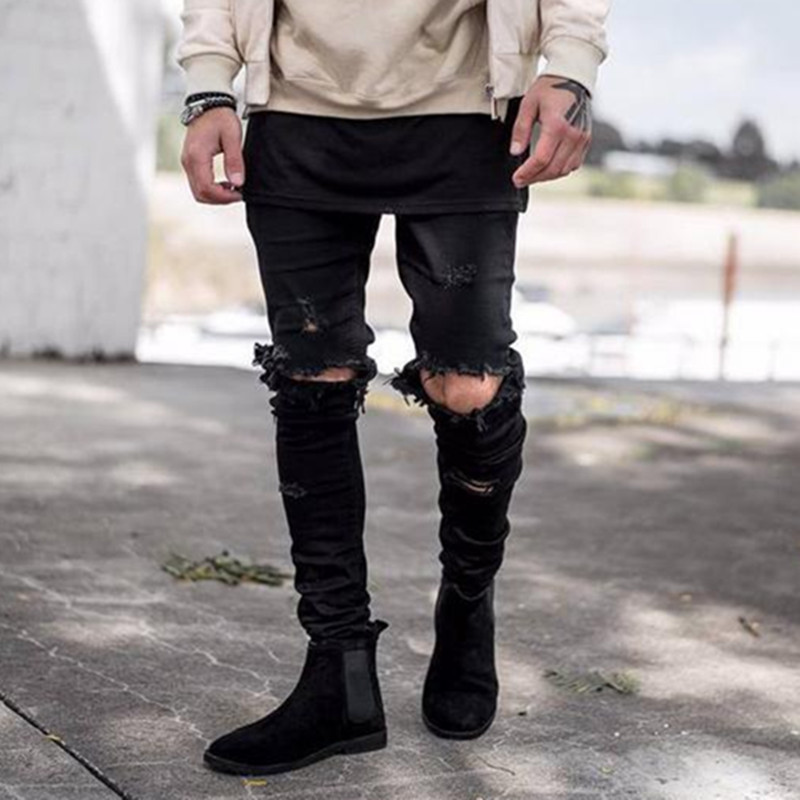 Popular Black Skinny Ripped Jeans-Buy Cheap Black Skinny Ripped ...