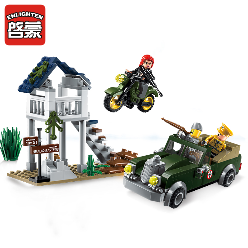 Models Building Toy Enlighten 1708 206Pcs Military Fighter Jeep Model Pilot Soldier Building Blocks Compatible With Lego Toys