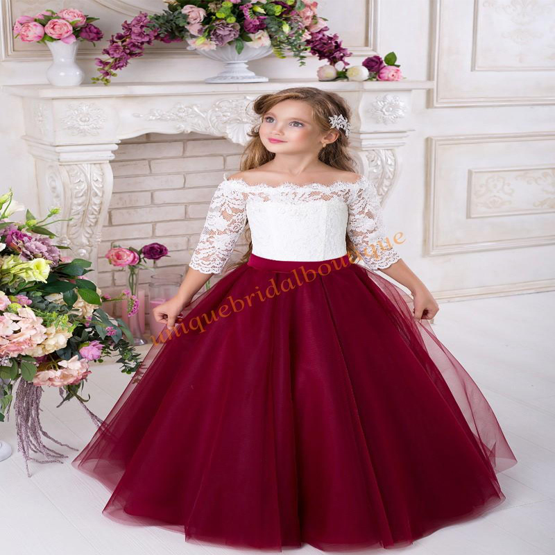Lace Flower Girls Dresses for Weddings 2018 with Off Shoulder and 3/4 Long Sleeves Two Tones Tulle Mother Daughter Dresses burgundy lace up design one shoulder long sleeves sweaters