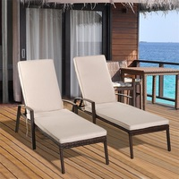 2 Pcs Patio Rattan Adjustable Back Sun Lounge Chairs Sturdy Durable Outdoor Beach Loungers HW54524
