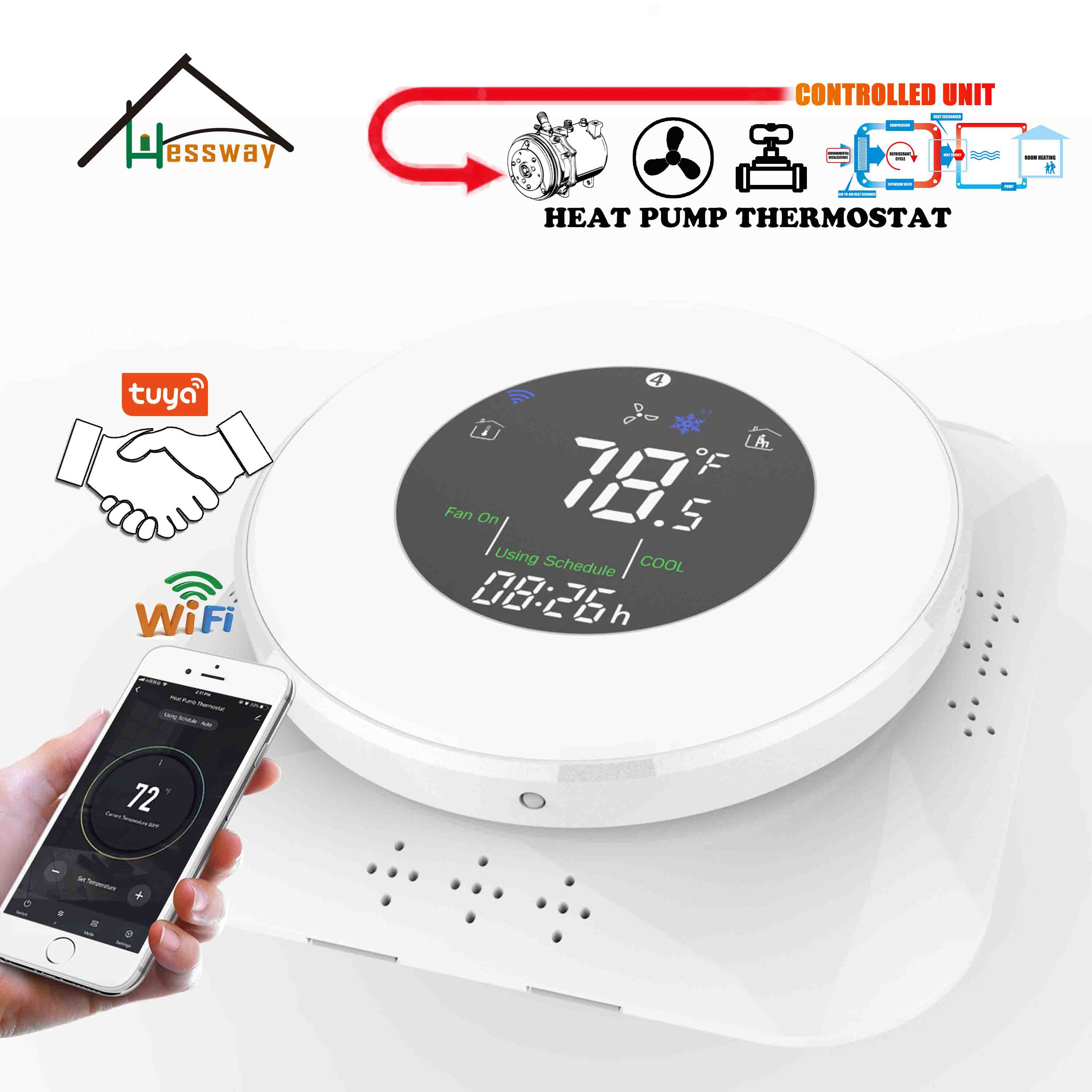 HESSWAY Heat Controller Heat Pump Thermostat For WIFI Air Energy Heating & Cooling Compressor Relay