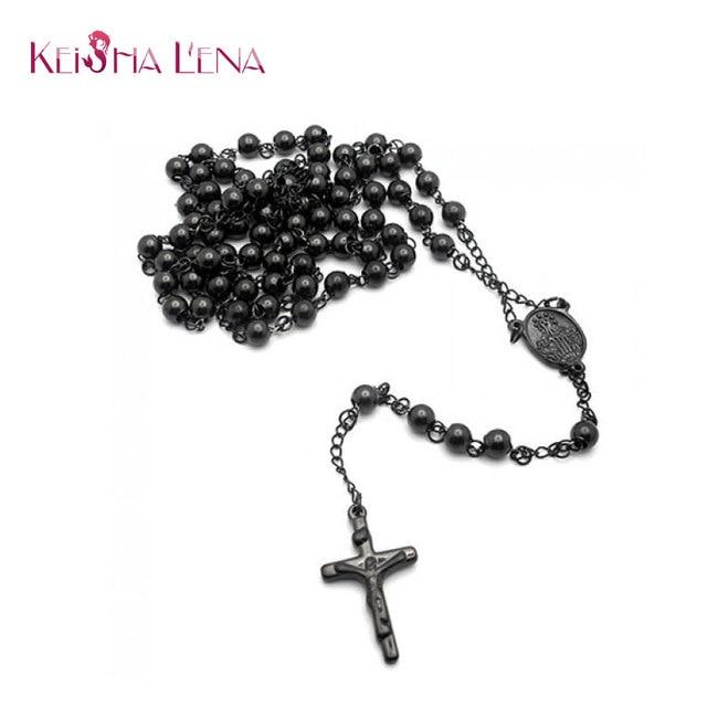 Keisha Lena Men\'s rosary necklace black color jesus Cross necklace ...