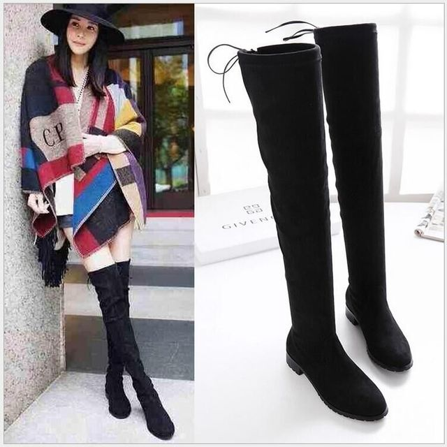 ddb4f94c50f Sexy Women Boots Autumn Winter Ladies Fashion Flat Bottom Boots Shoes Over  The Knee Thigh High Flock Long Boots Designer