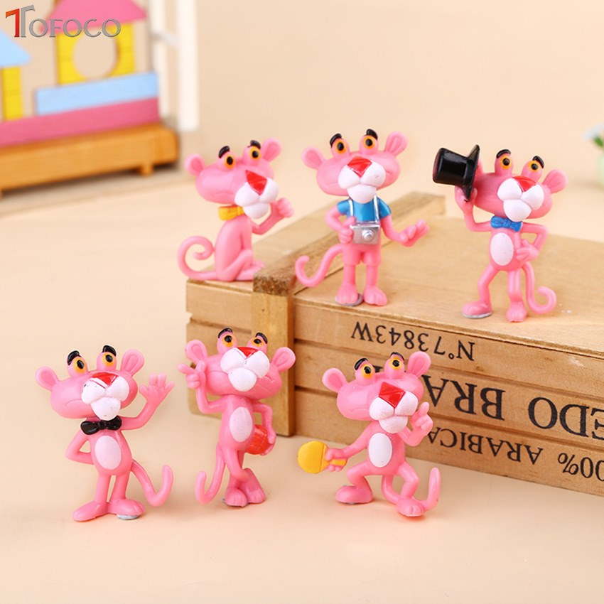 TOFOCO 6pcs/set Mini Pink Panther Action Figure Toys Cute Cartoon 4.5Cm PVC Animals Model Collection Toys For Children Gift 6pcs set disney trolls dolls action figures toys popular anime cartoon the good luck trolls dolls pvc toys for children gift
