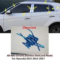 For Hyundai IX25 2014 2015 2016 2017 car Styling sticks stainless steel Car garnish pillar windows middle strip trim frame lamp
