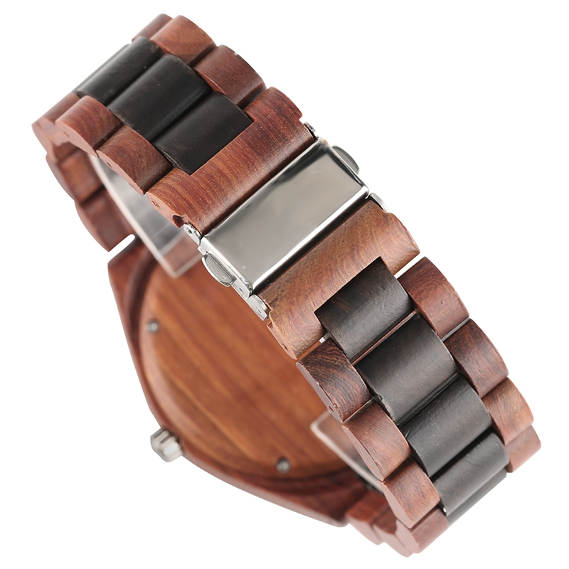 YISUYA Men's Ebony Wooden Watch Wood Strap Quartz Analog Creative Wristwatch Simple Nature Bamboo Male Watches Clock saat (6)