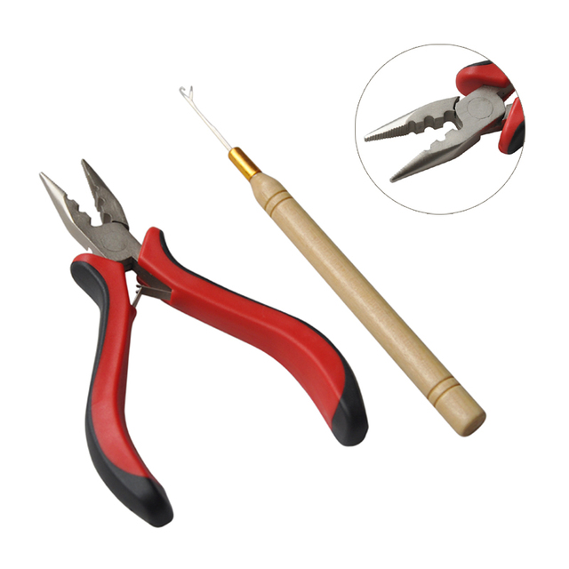 Free Shipping One Set Of Hair Extensions Tools Pliers Opener + Pulling Hook Needle for Micro Ring Tools