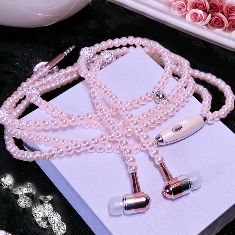 Pearl Necklace Earphone In-Ear Pink Rhinestone Necklace Jewelry Beads Earphones With Mic For Samsung Xiaomi Brithday Girls Gifts(China)