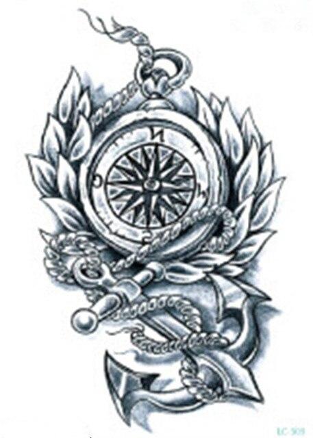 waterdichte tijdelijke fake tattoo stickers cool vintage kompas anker grote ontwerp body art. Black Bedroom Furniture Sets. Home Design Ideas