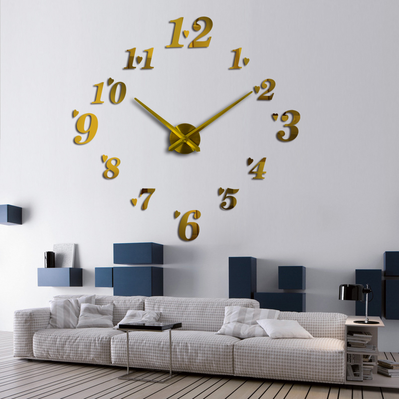 Hot Sale Home Decoration Wall Clock Design Acrylic Mirror Clocks Stickers Accessories Living Room