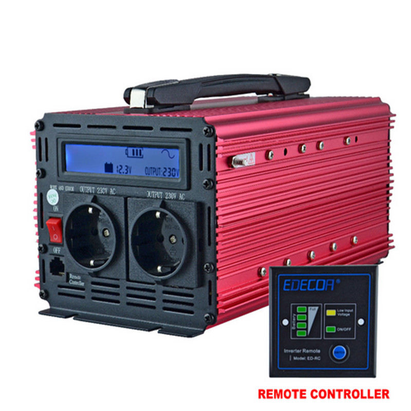 цена на 2000w handle solar inverter 12v 220v 230v 240v EDECOA peak power 4000w off grid modified sine wave inverter with LCD srceen