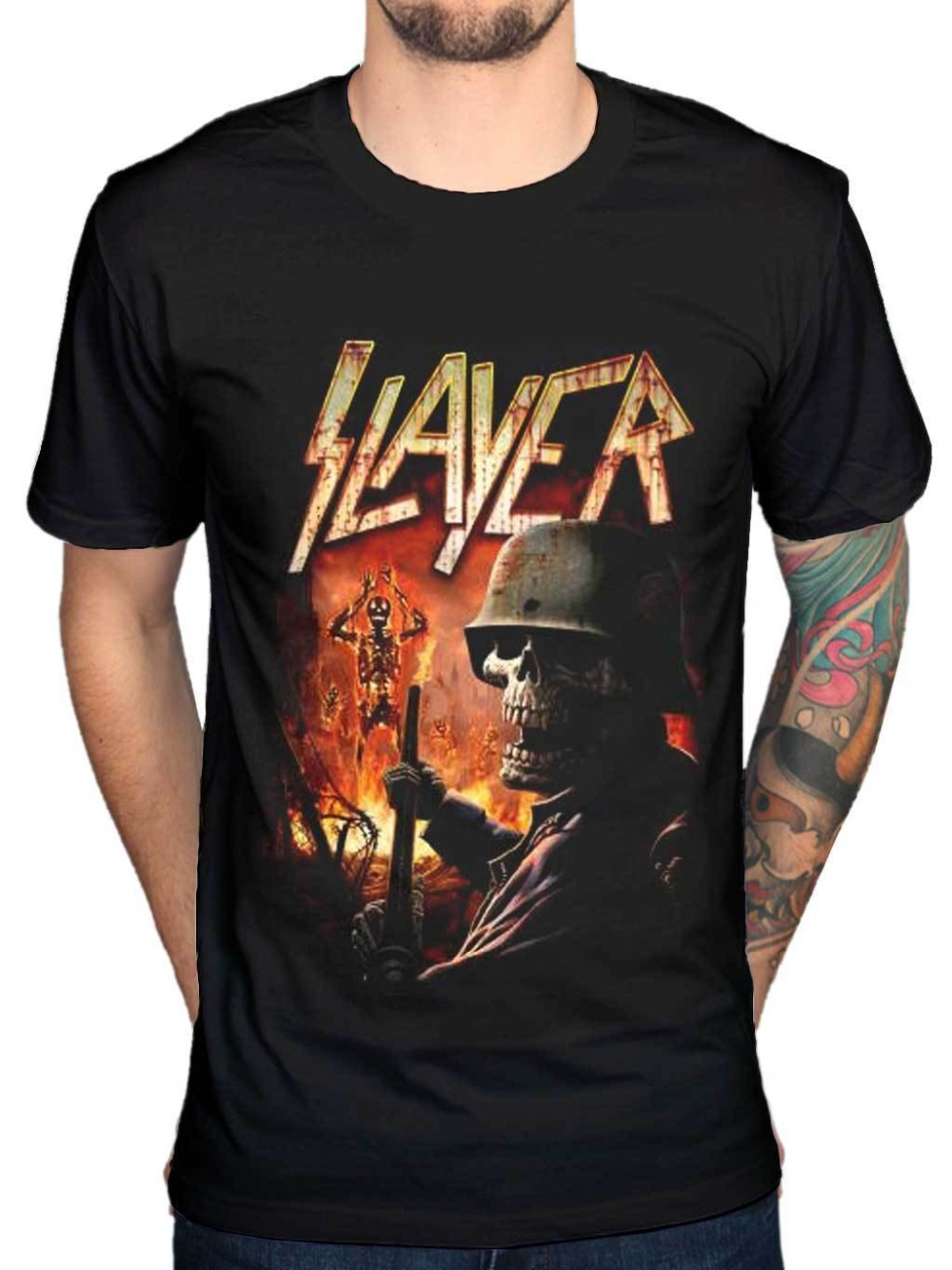 T Shirt Design Shop Short Sleeve Fashion 2018 Crew Neck Official Slayer Zombie Torch Tee Shirts For Men