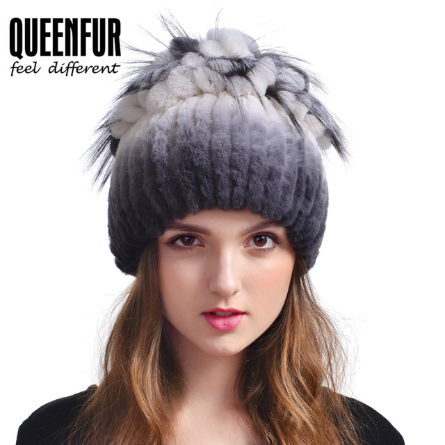 Winter Women Real Rabbit Fur Hat With Silver Fox Fur Pom Flowers Top Cap Fashion Elegant Warm Natural Rex Rabbit Fur Beanies