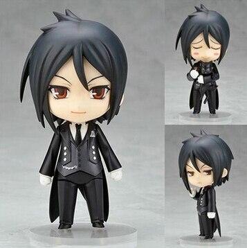 New hot 10 cm Q version Black Butler Sebastian Michaelis mobile action figure jouets collection de noël jouet poupée