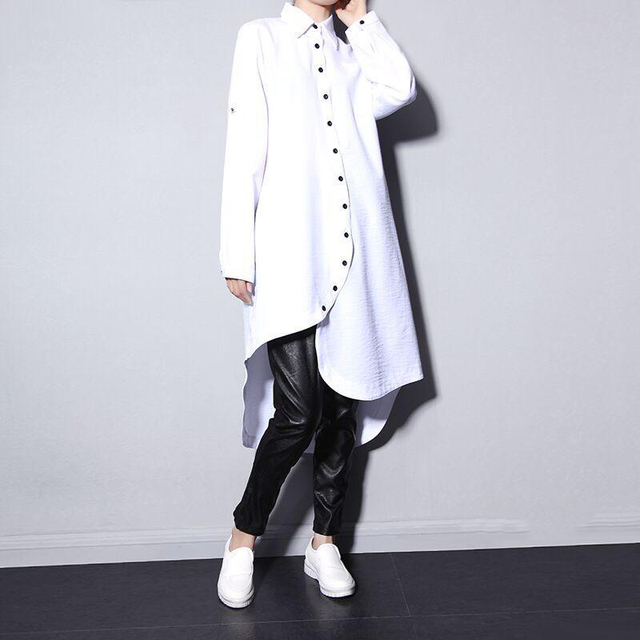 [Soonyour] 2017 de primavera y la primavera dobladillo asimétrico camisa de gasa dress de las mujeres gruesas de manga larga blanco negro grande tamaño lh910