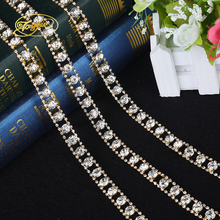 1 yard Crystal Glass Rhinestone Cup Chain Silver Base With Claw Dress Decoration Trim DIY Applique Sew on