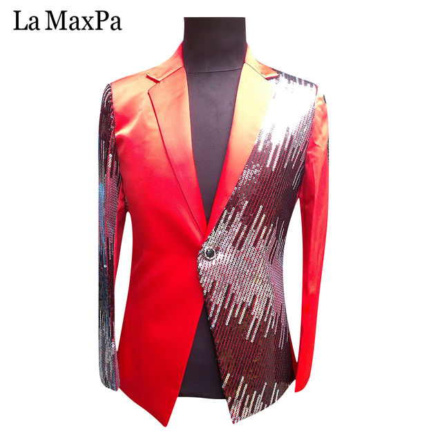 La MaxPa stage costume Sequins Prom Dresses Paillette Male Master Stage  Costumes Men top Host Clothing Singer Blazer For Men 31b933ec916a