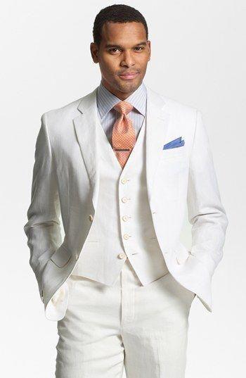 2017 Latest Coat Pant Design Ivory Linen Beach Wedding Men