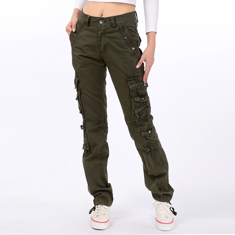 Woman Spring Plus Size Mid Elastic Waist Pockets Straight 100% Cotton Cargo Pants Female Autumn Oversized Loose Trousers D50