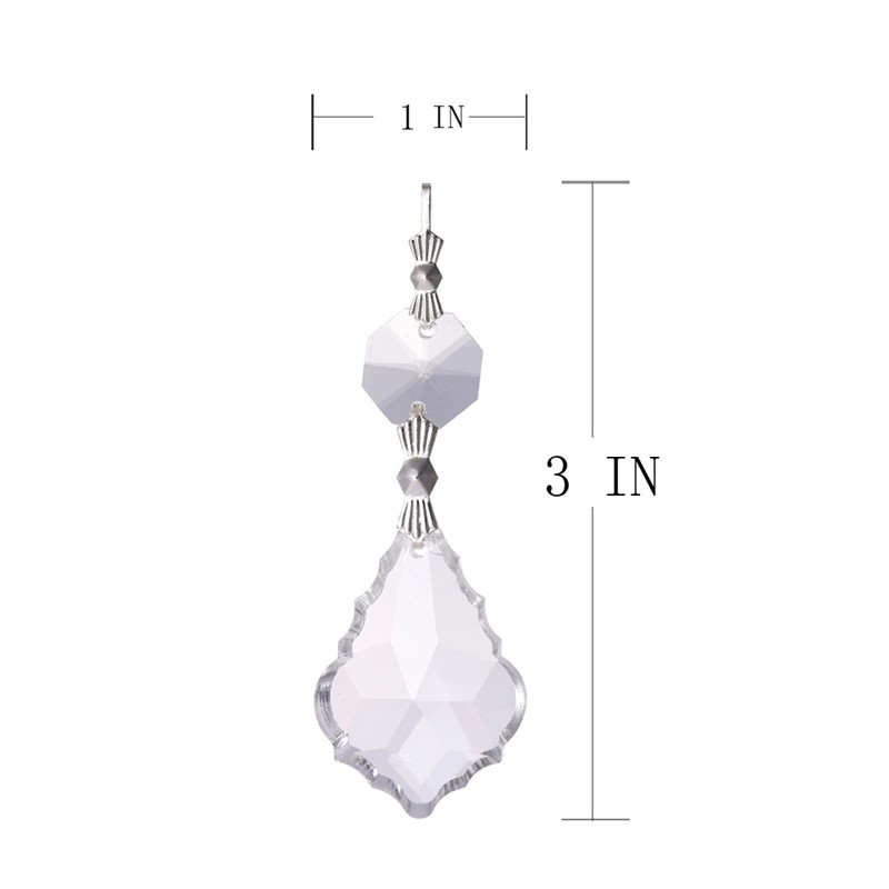10PCS Clear 38cm French Leaf Silver Bowtie Chakra Spectra Suncatcher Chandelier Glass Crystals Lamp Prisms Parts Hanging Pendant (4)