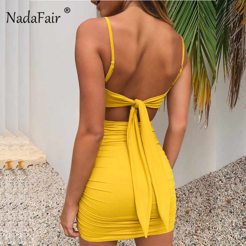 Nadafair Mini Spaghetti Jurk Lace Up 2019 Zomer Backless Geel Jurken Vrouwen Mouwloze Ruches Sexy Club Party Dress