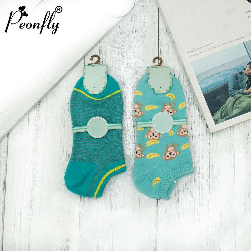 2pari PEONFLY Women Socks Monkey banana striped absorbent breathable cotton socks cartoon wind seasons Boat ladies