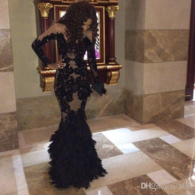 6477d94375d15 Luxury Black Prom Dresses With Long Sleeves Sheer Mermaid Evening Gowns  Real Tulle Formal Dresses Gowns Plus Size