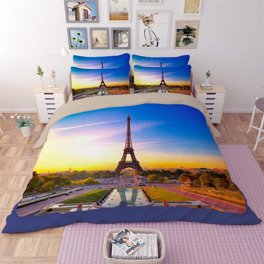 4 saisons scénique tour Eiffel ensemble de literie double reine roi taille housse de couette drap de lit taie d'oreiller impression 3D Textiles de maison en vente