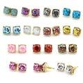 Wholeasle Kate Small Square Opal Glitter Stud Earrings Gold Women Fashion Jewelry 2016 Earrings 14 Option 10*10 MM