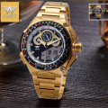 AMST Brand Men Luxury Gold Stainless Steel Quartz Watch Led Digital Multi-function Waterproof Military Wristwatch With Gift Box