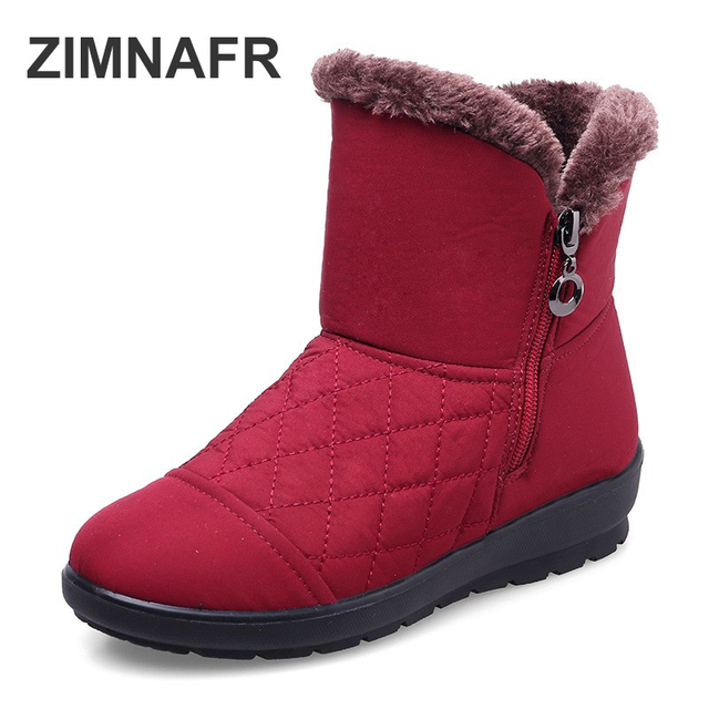 ZIMNAFR BRAND SNOW BOOTS WOMEN'S BOOTS WATERPROOF LIGHT SEWING MOTHER WINTER BOOTS WOMEN SNOW BOOTS  PLUS SIZE 35-42