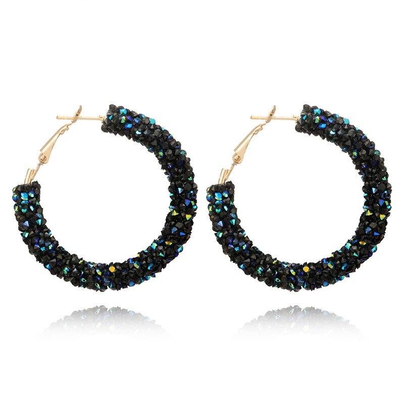 Trendy 3 Color Big Crystal Zircon Round Earrings For Women Black Silver Blue Earring Female Punk Fashion Jewelry Best Gift