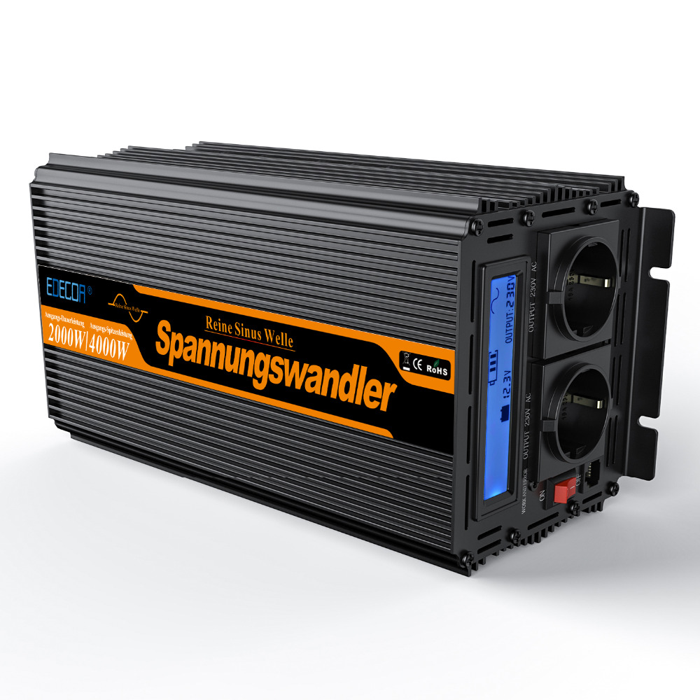 цена на EDECOA 2000w pure sine wave DC 12V to AC 220v 230v 240v power inverter peak 4000w