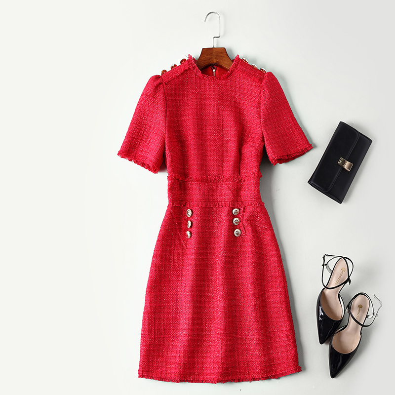 Haute qualité laine robe nouvelle mode 2018 automne hiver robe femmes o-cou or bouton à manches courtes rouge noir fête Slim robe