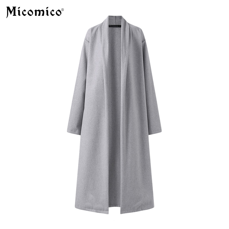 Spring Women Overcoat Black Gray Fashion Coats Jackets Warm Winter Coat Solid Long Casual Loose Collar Cardigan Chic Outerwear