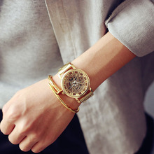 Hollow Brand Luxury Wristwatch Silver gold Stainless Steel casual personality trend quartz-watch men 2016 Orologi hot sale