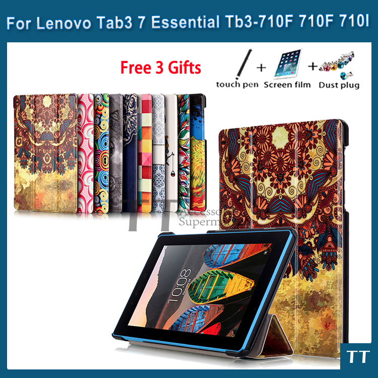 case for Lenovo Tab3 7 Essential High quality case cover for Lenovo Tab 3 710 710I 710F TB3-710FTablet PC+free 3 gifts tab3 7 0inch 710f tempered glass screen protector for lenovo tab 3 7 0 710 essential tab3 tb3 710f 710l 710i protective glass