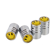 4caps/Set Smile Face Logo Car Tire Valve Caps Styling Air Tyre Stems Cover Automobile Motorcycle Wheel Accessories