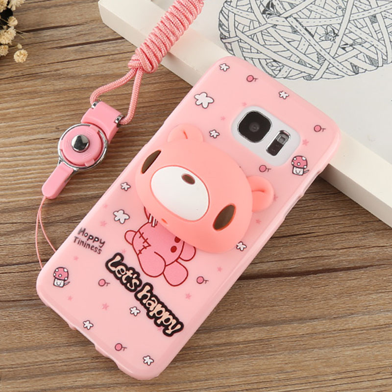 For Samsung Galaxy S7 edge 3D Silicone Case G9350 Cute Cartoon Rabbit Bear Totoro Stand Earphone