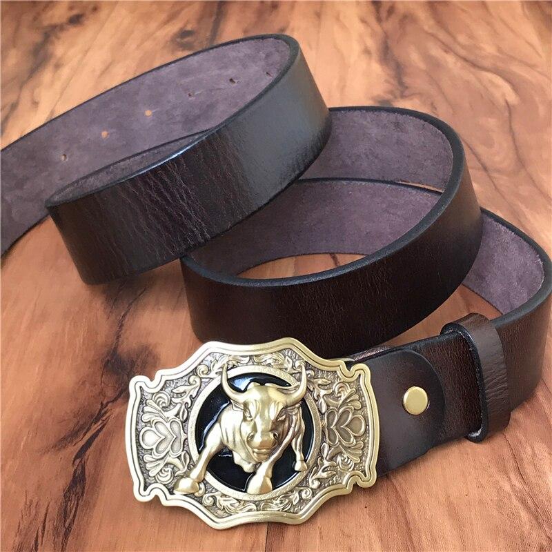 Cinturón de vaquero de toro de latón hebilla de cinturón de hombre cinturón de cuero genuino grueso hombres Ceinture Homme Cinturon Jeans correa de cintura MBT0524 - 5