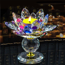 Crystal Lotus Candlestick Decoration Craft Gift Buddha Supplies&Home Wedding Party