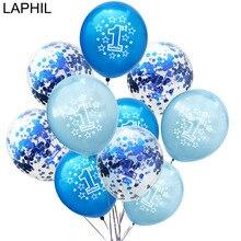 LAPHIL Globo de confeti de látex para Baby Shower, 10 Uds., globos de 1er cumpleaños para niño y niña, mis primeras decoraciones para fiesta de cumpleaños