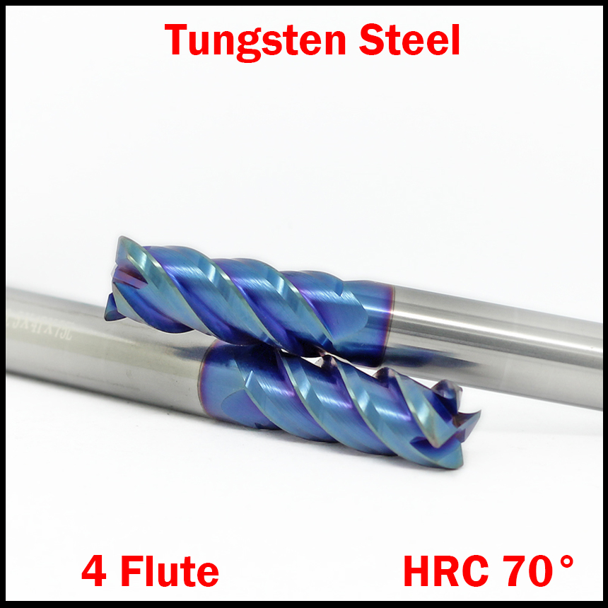 1mm 2mm 3mm 4mm 5mm OD HRC70 Tungsten Solid Carbide ALTin 4 Flute CNC Cutting Tool Blue Router Bit Flat End Mill Milling Cutter 1pcs high quality hss carbide end mill cnc tool diameter 12mm 4 blades flute mill cutter straight shank solid carbidet drill bit