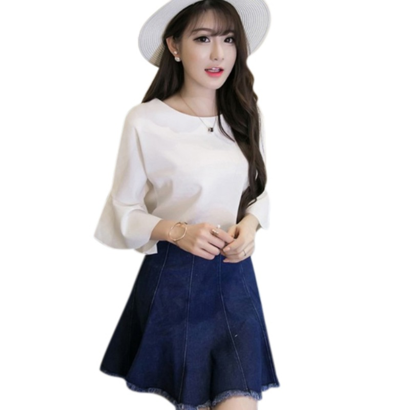 2018 Female Sweet O Neck Loose Solid Blouse Skirt Women Summer Half Butterfly Sleeve Solid Blosues Tops Female Shirts Womens