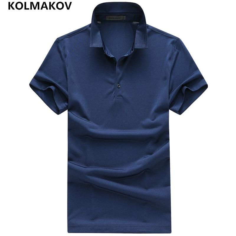 2019 KOLMAKOV Brand Short Sleeve Poloshirt Fashion Slim Fit Elastic Casual Camisas   Polo   Masculina Chemise Sportwear Male