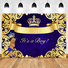 NeoBack Royal Boy Baby Shower Photo Background Photophone Golden crown pattern Sapphire blue for Shoots